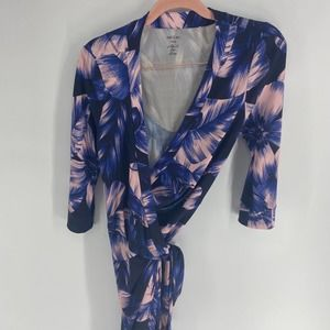 Marc Cain blue pink floral half sleeve wrap dress